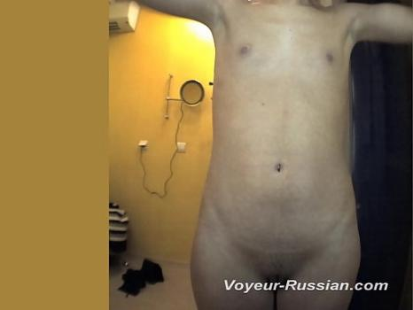 Pv597# Slim girl undressed and going to sunbathe. Little tits and a shaved pussy close-up. A good mo