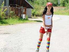 Hot girl on inline skates