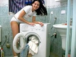 Masturbating in the laundry rom