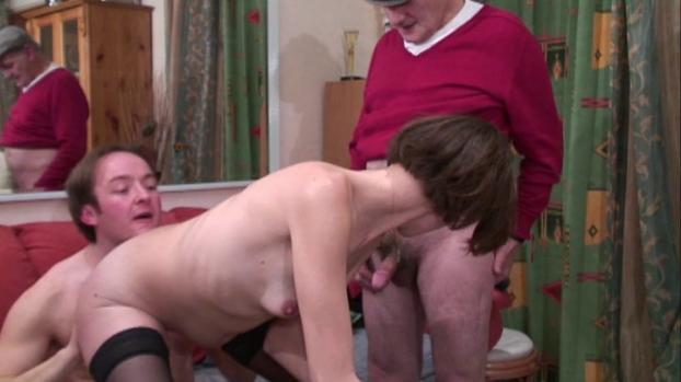Naughty small titted brunette in stockings gets her ass pounded in threeway with Papy