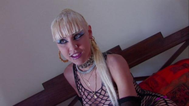 Young Blonde Teen In Fishnets and Heavy Make Up Rides Dick
