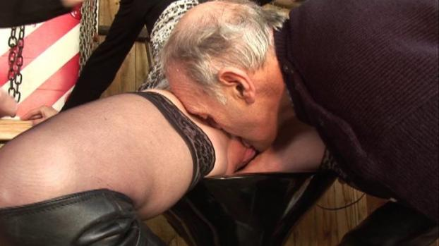 Naughty blonde has threesome with young and old