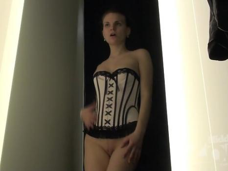 Lo1626# The girl tries on a corset. Very beautiful and sexy look. It lends a special charm that is